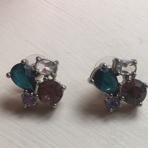 Blue, smoke and clear quartz post earrings